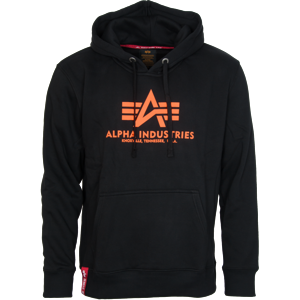Alpha Industries Mikina  Basic Hoody neon orange | black 3XL