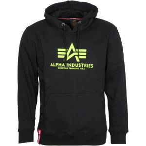 Alpha Industries Mikina  Basic Hoody neon yellow | black 3XL