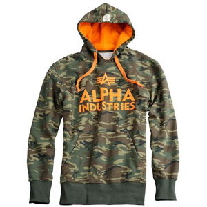 Alpha Industries Mikina  Foam Print Hoody woodland XL