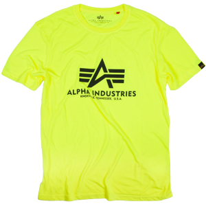 Alpha Industries Tričko  Basic T-Shirt neon yellow 4XL