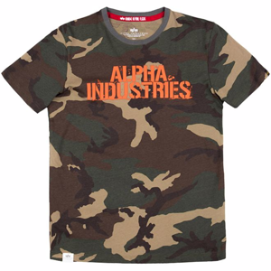 Alpha Industries Tričko  Blurred T woodland camo 65 S
