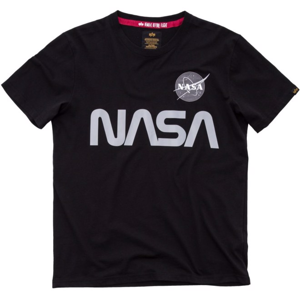 Alpha Industries Tričko  NASA Reflective T černé 5XL