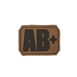 Nášivka gumová 3D: Krevní skupina AB POS [32x43] okrová