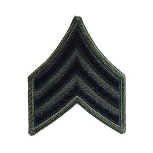 Nášivka: Hodnost US ARMY rukávová Sergeant olivová   černá